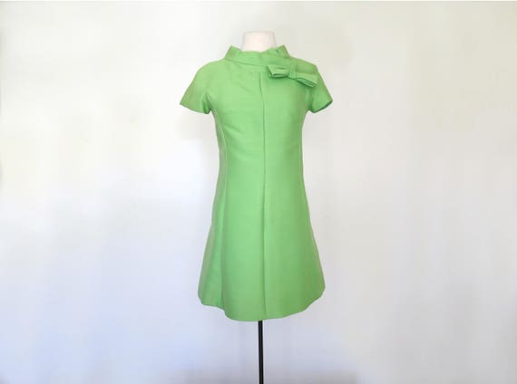 1960s bright green mini dress with mock neck