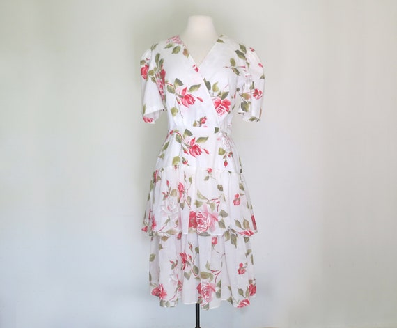 1980s floral romantic tiered dress