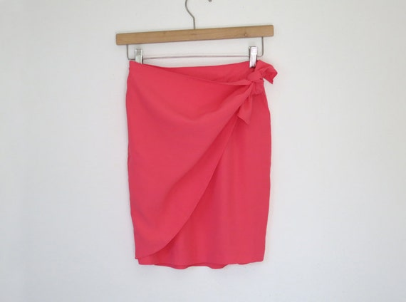 1990s neon pink wrap skirt