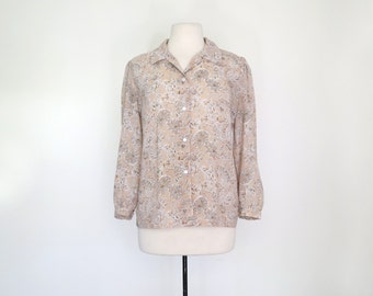 STATUE GARDEN // sheer pink 70s graphic button up blouse / M L