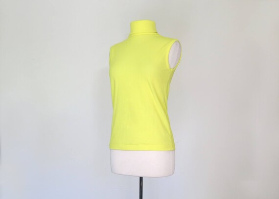1960s bright lemon yellow mock neck top