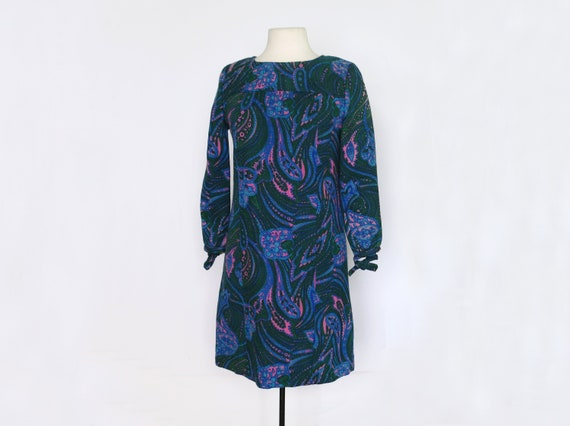 1960s Marbled Paisley Psychedelic Mini Dress in Gr