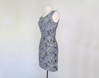 BLUE PERIOD // 90s button up graphic dress / S