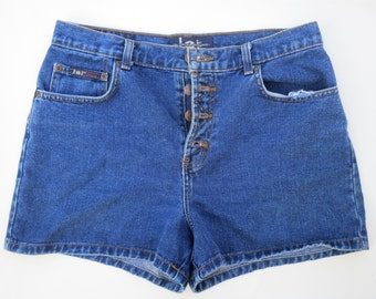 LEI // 90s button fly blue denim shorts / M