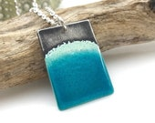Beach Necklace, Glass Wave on the Sea Shore, One of a Kind Blue Enamel and Sterling Silver Pendant, Solid 925 Silver Chain Clasp, Gift