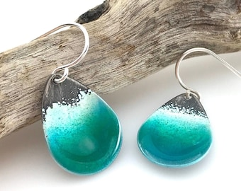 Beach earrings - aqua blue green glass enamel on sterling silver with a beautiful water effect, teardrop sea shore