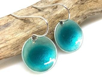 Blue Earrings | Sterling Silver & Enamel | Hammered Discs | Simple Everyday Earrings