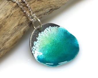 Circle Ocean Necklace - Sterling Silver & Aqua Blue Green Enamel