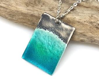 Beach Necklace, Wave, Sea Shore, Aqua Blue Green Enamel & Sterling Silver
