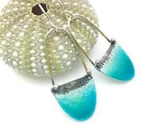 Long Beach Earrings - Aqua Blue Green - Glass Enamel & Sterling Silver