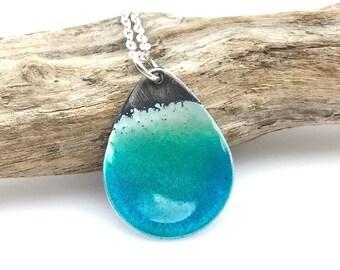 Enamel Beach Necklace - Aqua Blue Green - Sterling Silver Teardrop
