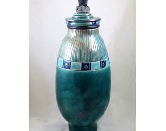 Coil Built and Hand Carved Raku Pottery Vessel Funerary Urn