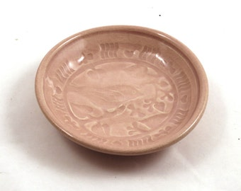 Birds and Bees Stoneware Bowl in Pink