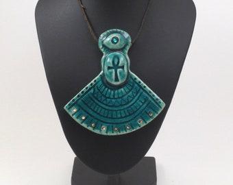 Egyptian  Ankh amulet Pendant Raku Pottery