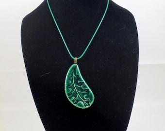 Green Oak Leaf amulet Pendant Pottery