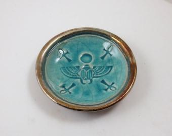 Eygptian Scarab  Handmade Raku Pottery Ooffering Bowl
