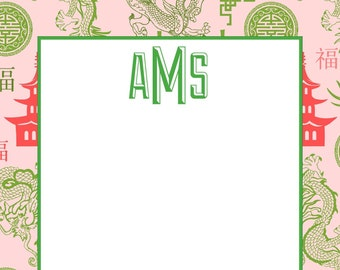 Personalized Notepads - PINK & GREEN PAGODA Chinoiserie - Set of 2 - Monogrammed Notepads