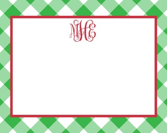 Christmas Preppy Green Gingham Notecard, Stationery or Invitation Set