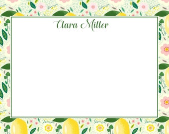 Lemons Ikat Personalized Notecard Set