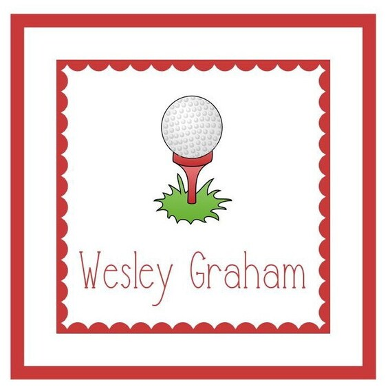 Golf Ball Gift Label Enclosure Card Book Plate Or Address