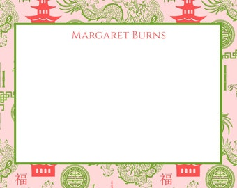 Pagoda Chinoiserie Pattern Notecard, Stationery in PINK and GREEN