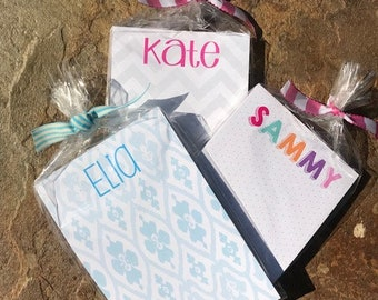 Personalized Notepads IKAT - DOTS - CHEVRON - Set of 2 - Monogrammed Notepads