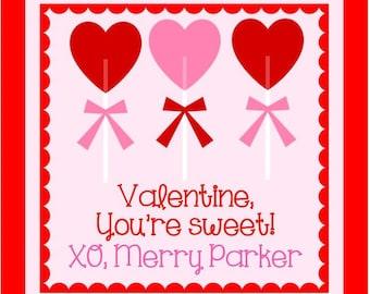 Valentine Heart Lollipop Sticker or Cardstock Tag - Set of 24