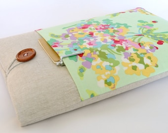 """Floral Laptop Cover, Custom Fit Gift for Her MacBook Pro, Surface 3, Dell XPS 13"""", Mac Book Air - Watercolor Flowers"""