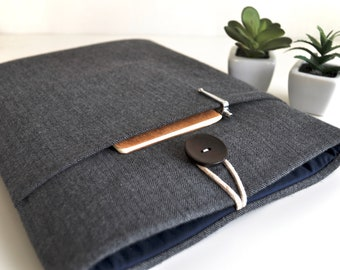 """MacBook Air or Pro 13 to 16 inch Padded Case, Custom Fit Any Laptop up to 16"""" - Flannel Charcoal Gray Herringbone"""