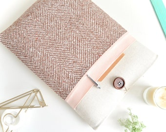 "Herringbone + Pink iPad Sleeve, iPad Pro Case 11"", 12.9"" Cover, 9.7, 10.2, 10.9 inch iPad Air Padded Handmade Tablet Pouch"