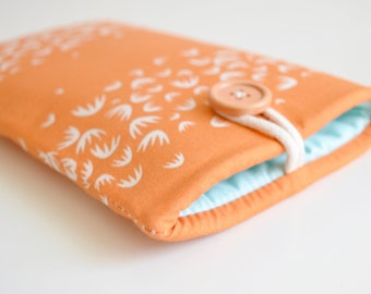 Orange and Aqua Phone Sleeve, iPhone Cover, Smartphone Case, Cell Phone Pouch, Custom Fit Android, iPhone XS, 11, 12, 13 Pro Max, XR