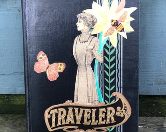the traveler - an ephemera collage, layered on an old book - 763