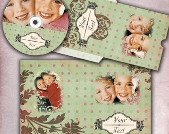 Green and Pink Polka Dot - CD DVD Cases and Label -  PSD Templates