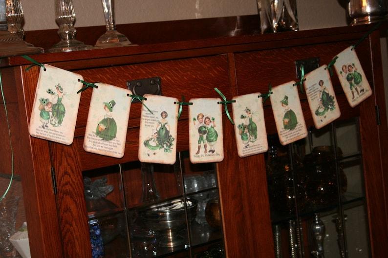 Patricks Day Banner  Garland with rhinestones St