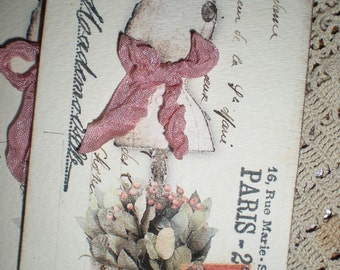 Set of 4 French Inspired postcard Dressform tags with Seam binding bow.  /  019