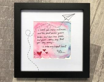 "EMILY DICKINSON - Illustrated Poem 8"" x 8"" Framed"