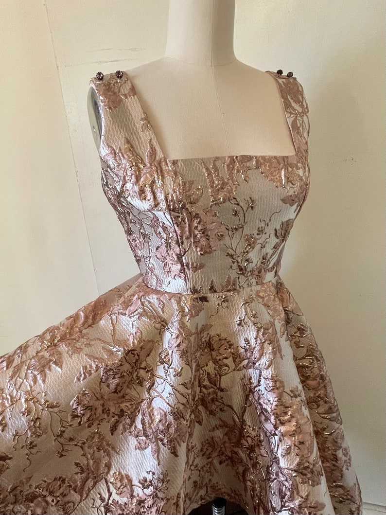 Rose Gold 1960\u2019s Inspired Fit and Flare Party Dress
