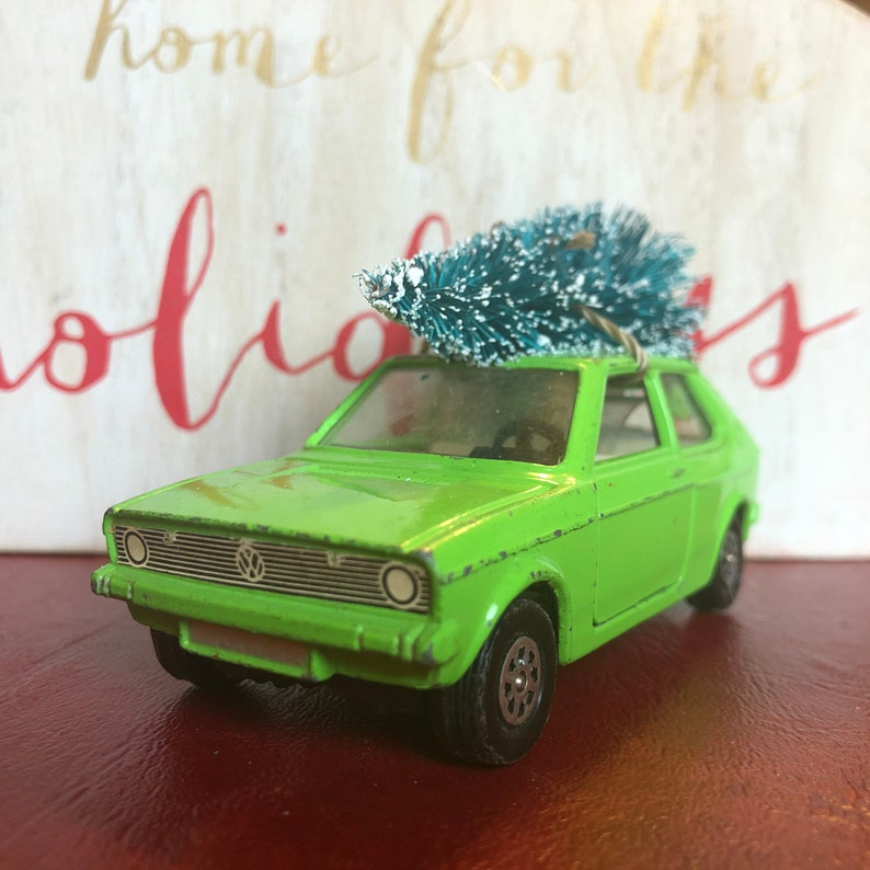 Vintage VW Polo Carrying Christmas Tree Ornament
