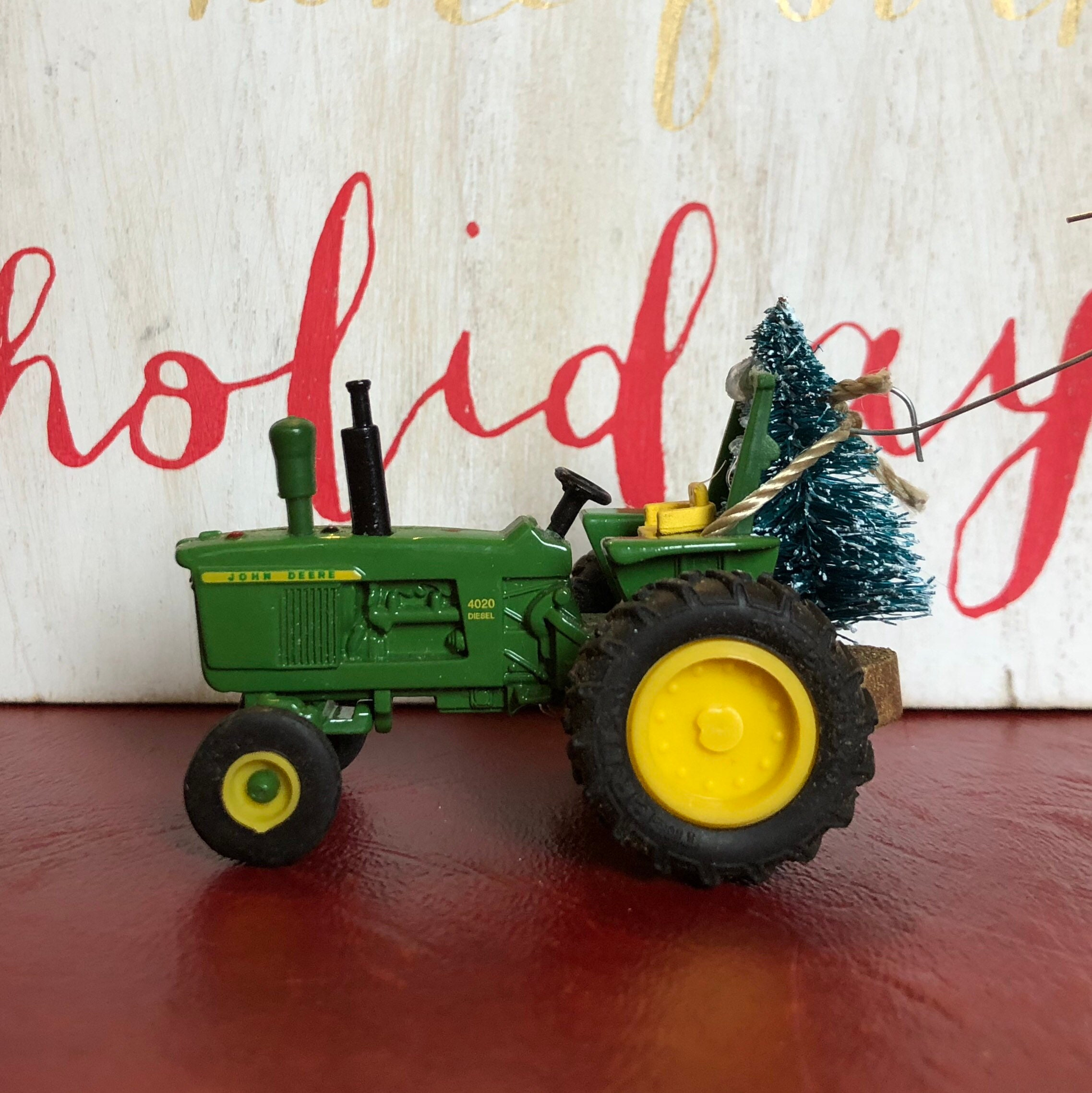 John Deere Tractor Carrying Christmas Tree Ornament   Etsy
