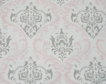 Premier Prints - Pink/Gray Damask - Madison - Bella/Storm Cotton Twill fabric - 3/4 yard x 54 inches - LAST ONE