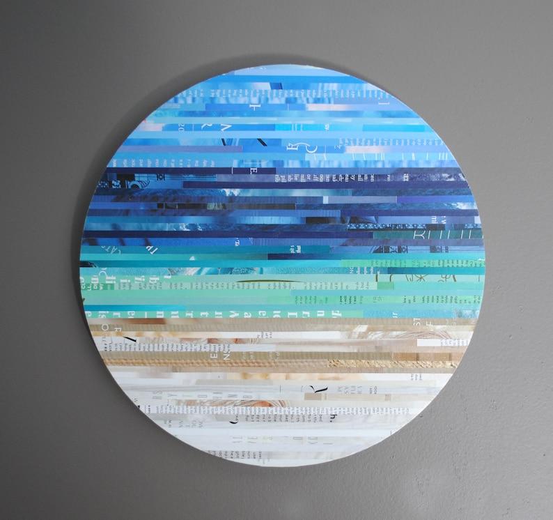 MEDIUM seascape recycled magazine wall art image 0