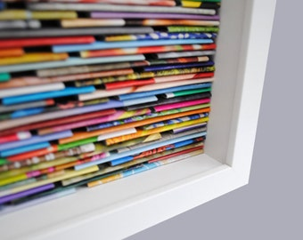 colorful LARGE square shadowbox wall art - made from recycled magazines, blue, green, red, purple, pink, yellow, modern, interior design