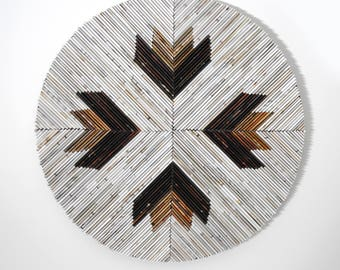 white neutral ARROW- round wall art- made from recycled magazines, colorful, unique 12 inch circle, brown and tan, cream and white modern