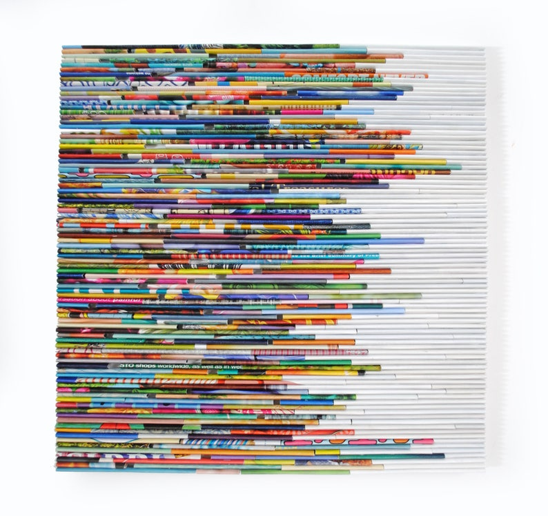 COLORFUL bright wall art made from recycled magazines 10 image 0