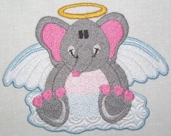 Machine Embroidery Design-Filled Design-Animal Angel-Elephant