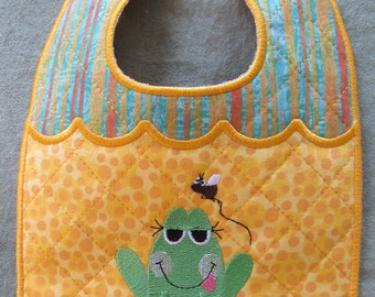 Machine Embroidery Design-ITH-Newborn Baby Bib-Frog with Fly for 5x7 hoop.