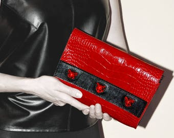 Red bag Red purse Leather clutch Red handbag Cat bag Red leather bag Red wallet Red clutch Red clutch bag Red clutch purse