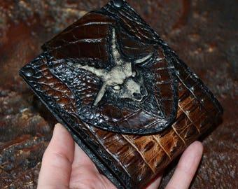 Lucifer Men's wallet, Baphomet art, Baphomet mask, Satan, occult, satanic, Halloween accessories, Halloween gifts, halloween costume, 666