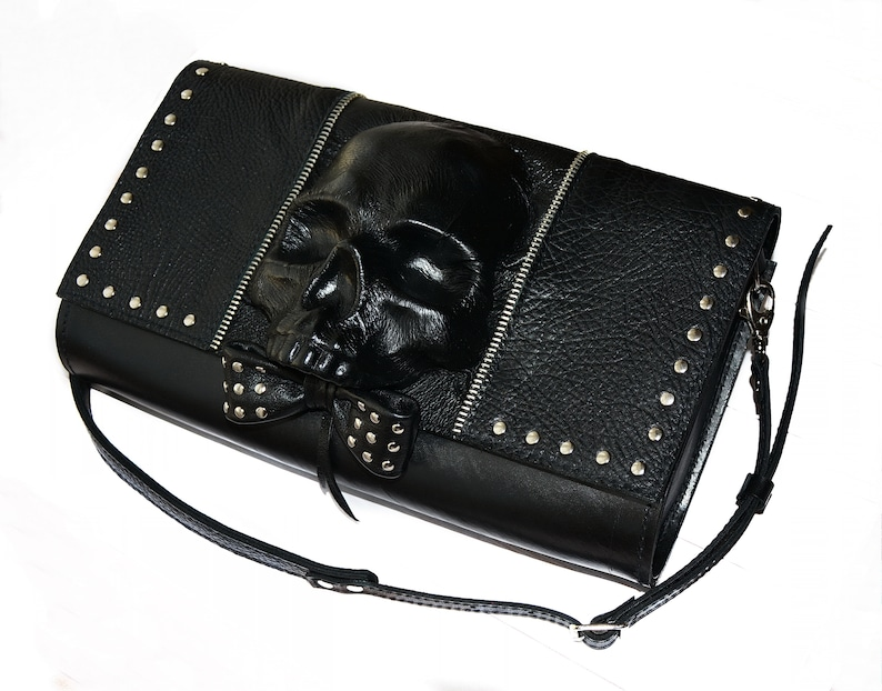 4a2489b25ee1 Leather clutch SKULL Heavy metal Skull purse Skull bag