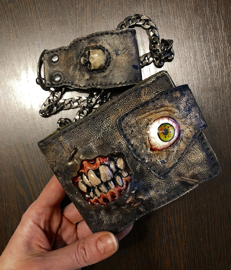 Horror movie Teeth Leather wallet Scary Creepy Distressed image 0
